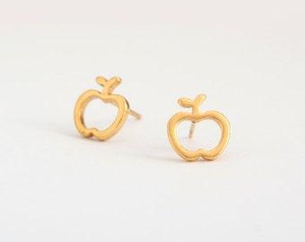 Apple Golden Stainless Steel Earring Stud  Post Finding (E31028)