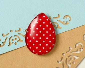4pcs handmade dot red water-drop-shaped teardrop glass dome cabochons  25x18mm (21-0101)