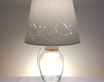 Nursery Lamp-Whale Design Paper Lampshade with Fillable Lamp-Fillable-Whales-Children's Lamp-Nursery-Baby Shower Gift
