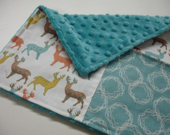 Meadow Deer Baby Burp Cloth with Minky 12 x 12 READY TO SHIP