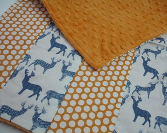 Meadow Deer Navy with Orange Dots Baby Burp Cloth with Minky 14 x 21 READY TO SHIP