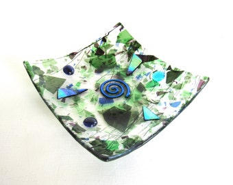 Spiral Glass Bowl Square Blue Green Confetti Dichroic Purple Small 6 inch Abstract Fused Art Glass Artwork Business Gift Dawn of Creation