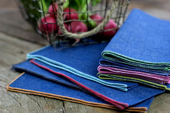 Denim Cloth Napkins with Color Edging- set of four or eight