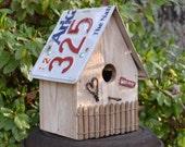 Rustic Birdhouse - Primitive Birdhouse - Cottage Birdhouse - License Plate Birdhouse - Recycled Birdhouse