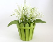 Lily of the valley spring arrangement, Spring décor, spring floral, home décor, mother's day gift, shower decoration, gift for Mom, leopard