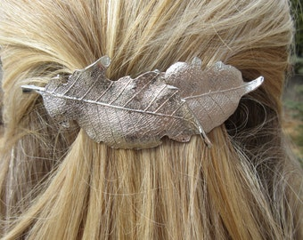 Silver Barrette layered Leaf hair clip minimal Accessory Pony holder woodland Leaves silver Metal Bohemian Nature Hair Jewelry Gift for Her