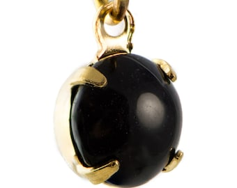 Vintage Black Glass Stone 1 Loop Gold Plated Setting Drops 7mm (6)rnd017F