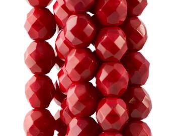 Czech Opaque Red Faceted Glass Beads 8mm (25) czh001G