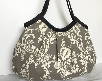 Granny Bag - Ivory Floral in Grey