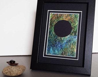 Solar Eclipse Art Zen Decor Astronomical Astrological Art Mandala Art 5x7 Art Framed