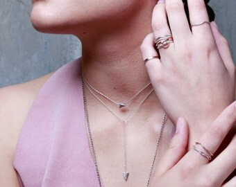 Falling Arrowhead Choker | Silver Choker Necklace