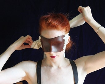 Leather Blindfold - Hand molded, Hand Stained Leather Coquette Mask with Beaded Lace and long Silk Ties - To order