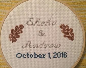 Custom Wedding Marriage Gay Marriage Anniversary Engagement Cross Stitch Sampler