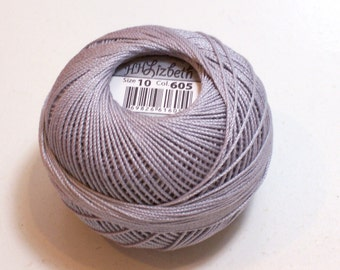 Tatting Thread, Lizbeth Size 10 Cotton Crochet Thread, Silver, Color number 605, Silver Tatting Thread