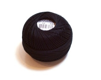 Tatting Thread, Lizbeth Cotton Crochet Thread, Black, Color number 604, Black Tatting Thread, Choose a size 3, 10, 40, or 80