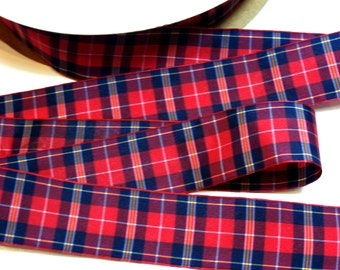 Red Plaid Ribbon, Red and Dark Navy Blue Ribbon 1 1/2 inches wide x 10 Yards