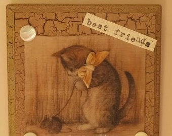 BEST FRIENDS Cat & Mouse Mixed Media Wall Hanging 7 x 7