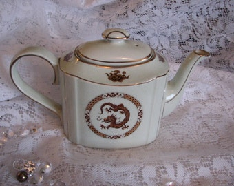 Vintage Asian Inspired Arthur Wood Dragon Teapot Brown and Gold made in England