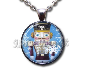 Nutcracker Snowflakes - Round Glass Dome Pendant or with Necklace by IMCreations -   BA107
