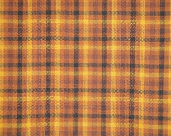 Plaid Fabric | Homespun Fabric | Quilt Fabric | Rustic Fabric | Craft Fabric | Sewing Fabric |  Khaki Wine And Black Plaid Fabric | 1 Yard