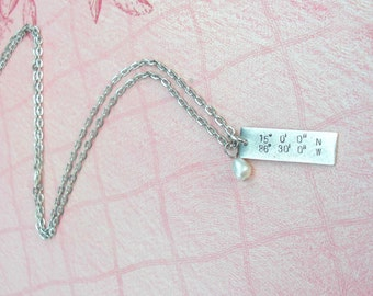 """GPS Coordinates Pendant, 18"""" Link Chain, Pearl.. Custom Lat/Long Hand Stamped antiqued charm ..Tags in copper, silver, gold .. souvenir gift"""