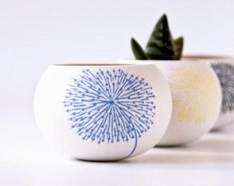 planter for cactus, succulent or air plant. colorful porcelain mini planter pot (blue dandelion). . Crafted by Wapa Studio.