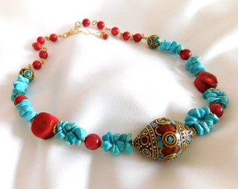 Turquoise Necklace Coral Necklace Bohemian Necklace Boho Necklace