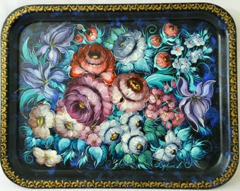 Hand Painted Tray Russian Zhostovo Style - Serving Tray