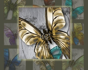 Butterfly  1x1 inch -Instant Download - Digital Collage Sheet Printable  Glass, Resin, Square Pendants & Magnets, Digital Download