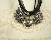 Angel Wings Heart Pendant with an Organza Ribbon Necklace
