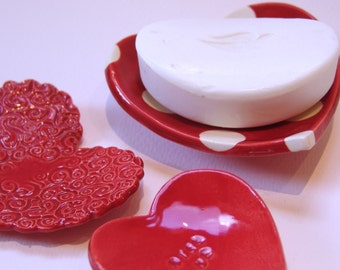 Kiss Me ceramic Hearts -- set of 3 -- red & white polka-dot pottery ring dishes, candleholders, soap dish, mom or sweetheart