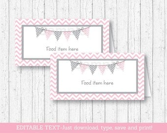 Pink Chevron Food Tent Cards / Food Labels / Place Cards / Chevron Pattern / Pink & Grey / Baby Girl Shower / INSTANT DOWNLOAD Editable PDF