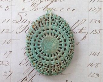 Vintage Filigree Locket Green Patina