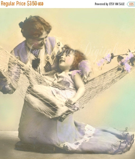 ON SALE Lazy Days and Lilacs, Mother's Love - Mother's Day,  French Postcard Instant download - Victorian Photo Scan FrA022