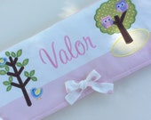 Personalized Crib rail cover - made to match baby's nursery - owls and birds nursery theme - pink