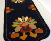 "Hand Stitched 43"" x 15-1/2"" Wool - Felt - ""IRVING THE TURKEY"" Fall - Thanksgiving - Primitive - Folk Art Table Runner - Penny Rug -Fiber Art"
