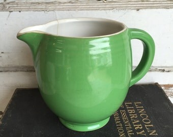 Vintage Hall Pitcher - Green and White Milk Creamer - Ribbed - Restaurantware