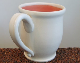 Large Pink Pottery Coffee Mug - Stoneware Coral Cup 16 oz.