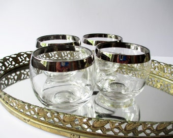 Bar Glasses Silver Trimmed Roly Poly Set of Four - Retro Vintage