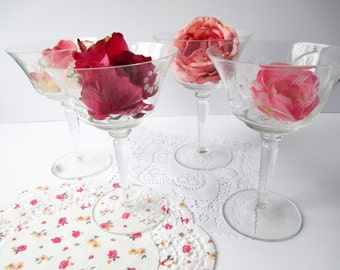 Vintage Colony Etched Floral Champagne/Sherbert Glasses Set of Four