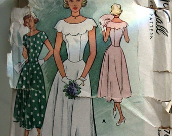 Vintage Womens Dress Pattern With Shaped Neckline And Large Scalloped Collar Misses Dress Sewing Pattern circa 1949 McCall 7662 Sz 15