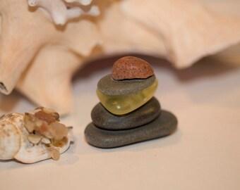 Cairn, Rock and Glass Cairn, Spiritual Cairn, Teachers Desktop Gift, Unisex Gift
