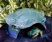 Ceramic Frog House - Handmade Toad Abode -  Dragonfly - Nature Inspired Pottery - Garden Decor - Garden Art