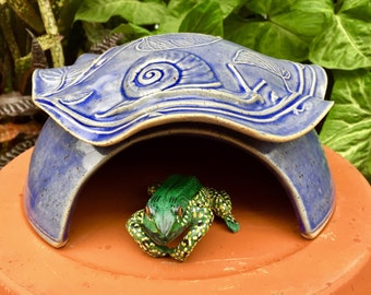 Ceramic Frog House - Handmade Toad Abode -  Snail - Nature Inspired Pottery - Garden Decor - Garden Art