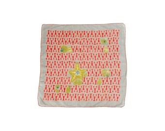 SALE Vintage 50s Handkerchief - Tammis Keefe - Tammis Keefe Handkerchief - Lobsters - Novelty Print - Starfish - Seashells - Gray Red Green