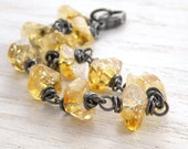 Yellow Gemstone Bracelet, Citrine, Wire Wrapped Sterling Silver, Faceted, Rustic, Oxidized, November Birthstone,  #4596