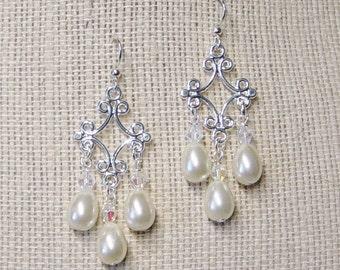 Pearl & Crystal Bead Chandelier Earrings, Silver Chandelier Earrings, Beaded Chandeliers, Pearl Bead Dangle Earrings,Bride's Earrings