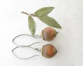 brown dangle earrings, lampwork earrings, mixed metal earrings, rustic oxidized earrings, boho dangle earrings
