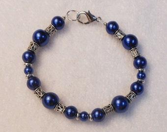 Girls Bracelet - Child's Bracelet - Beaded Bracelet For Girls - Children's Jewelry - Blue Bracelet - Flower Girl Bracelet