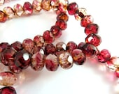 25 Fuchsia Rose Bead Czech Fire Polished Picasso Faceted Two Tone Abacus Rondelle Glass Beads 7x5mm - 25 pc - G6036-FRP25